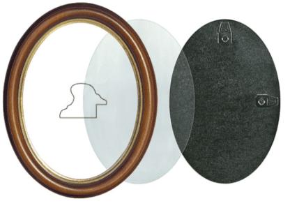 Oval Rahmen Nuß mit Gold Holzrahmen