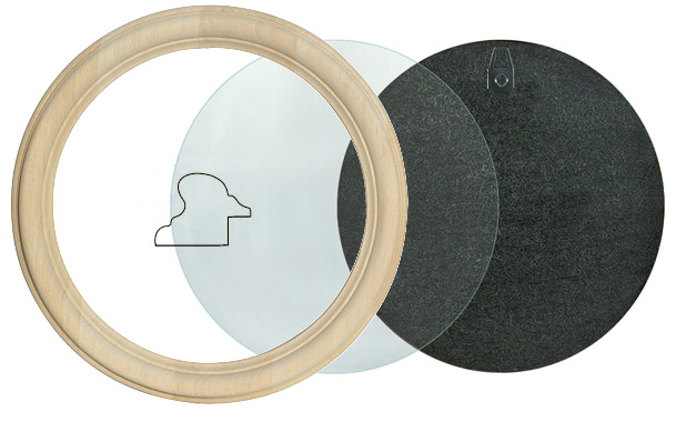 Runder Bilderrahmen aus rohem Holz